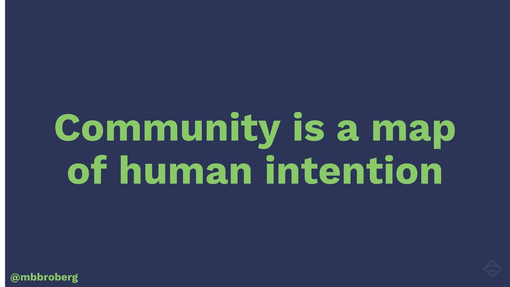Community is a map of human intention @mbbroberg