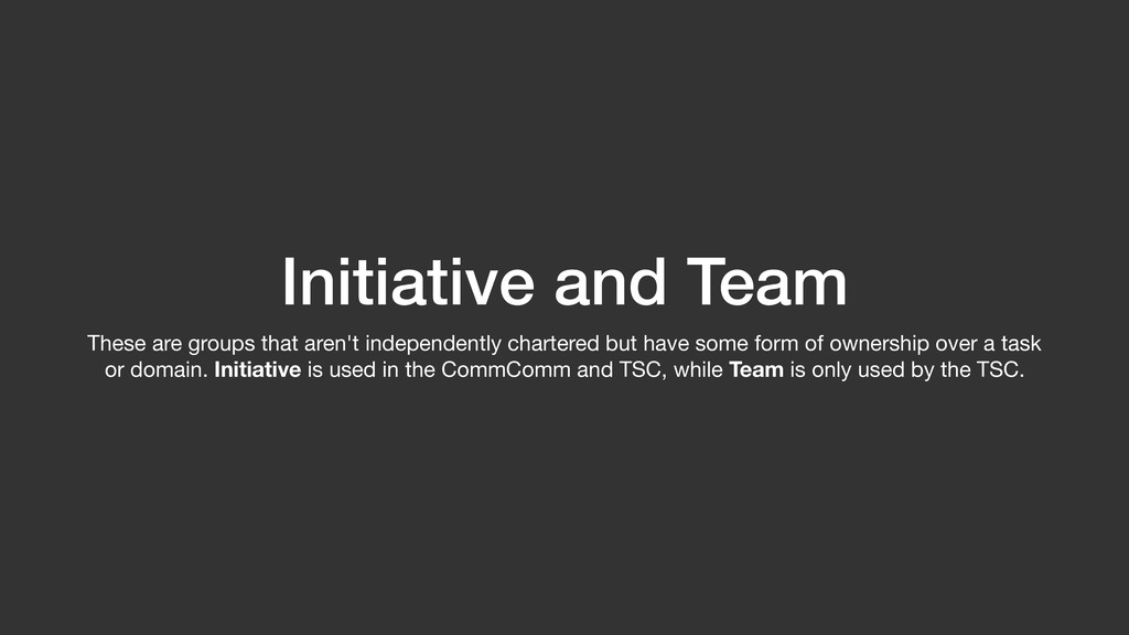 Initiative and Team These are groups that aren'...