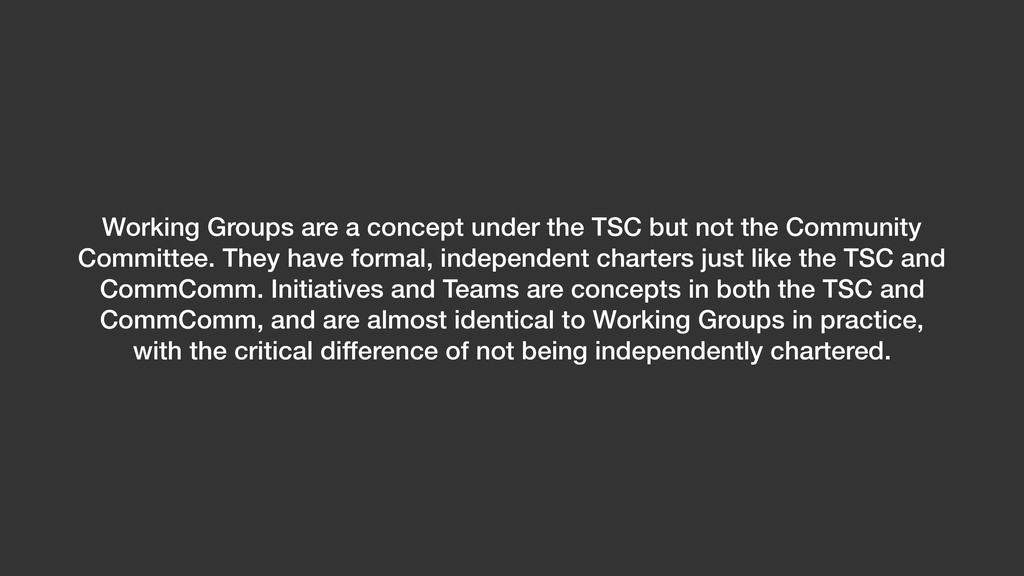 Working Groups are a concept under the TSC but ...
