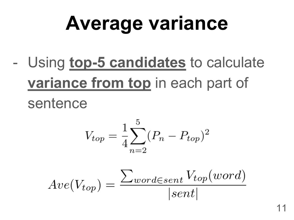 Average variance 11 - Using top-5 candidates to...