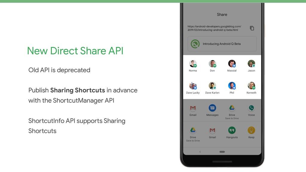 New Direct Share API Old API is deprecated  Pub...