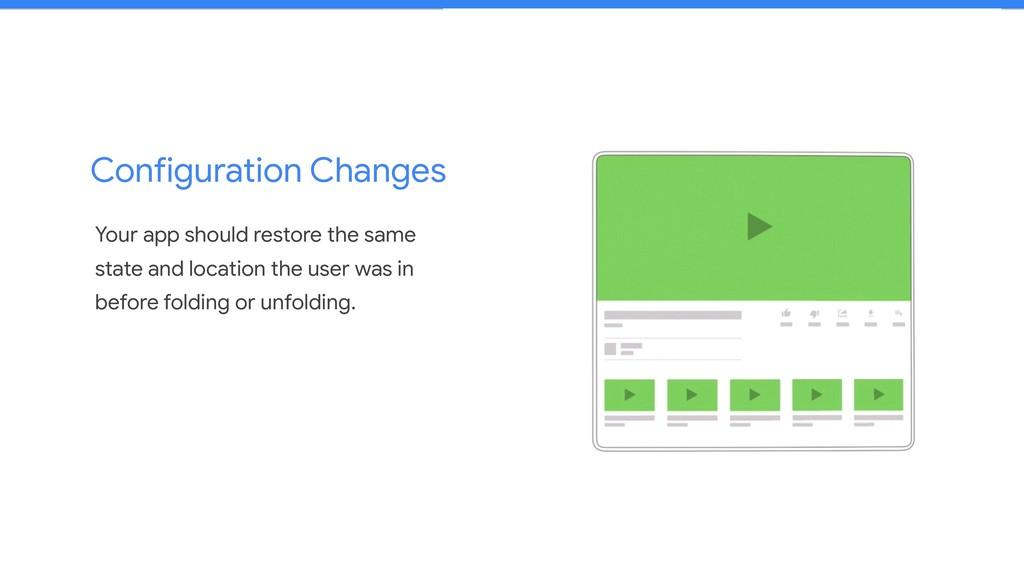 Configuration Changes Your app should restore t...