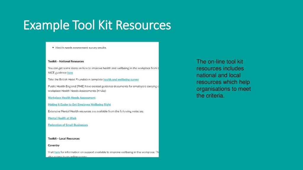 Example Tool Kit Resources The on-line tool kit...