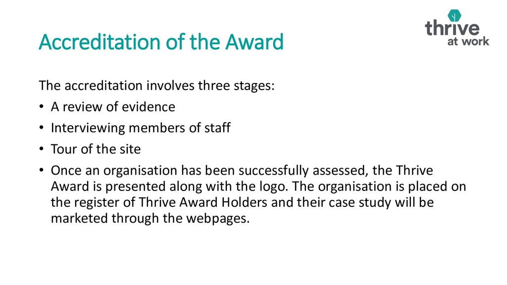 Accreditation of the Award The accreditation in...
