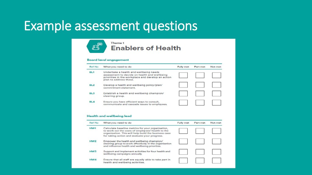 Example assessment questions