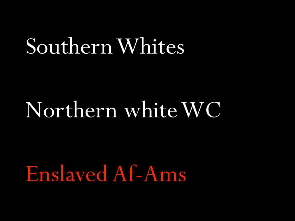 Southern Whites Northern white WC Enslaved Af-A...