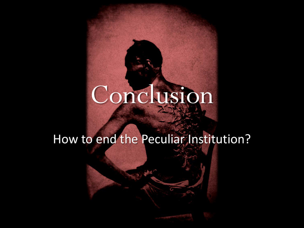 Conclusion How to end the Peculiar Institution?