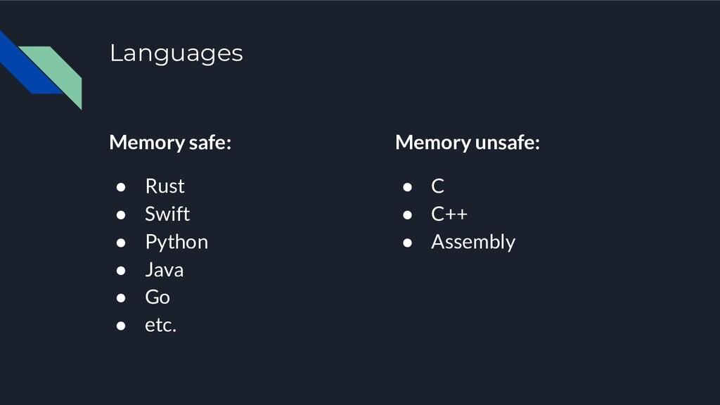 Languages Memory safe: ● Rust ● Swift ● Python ...