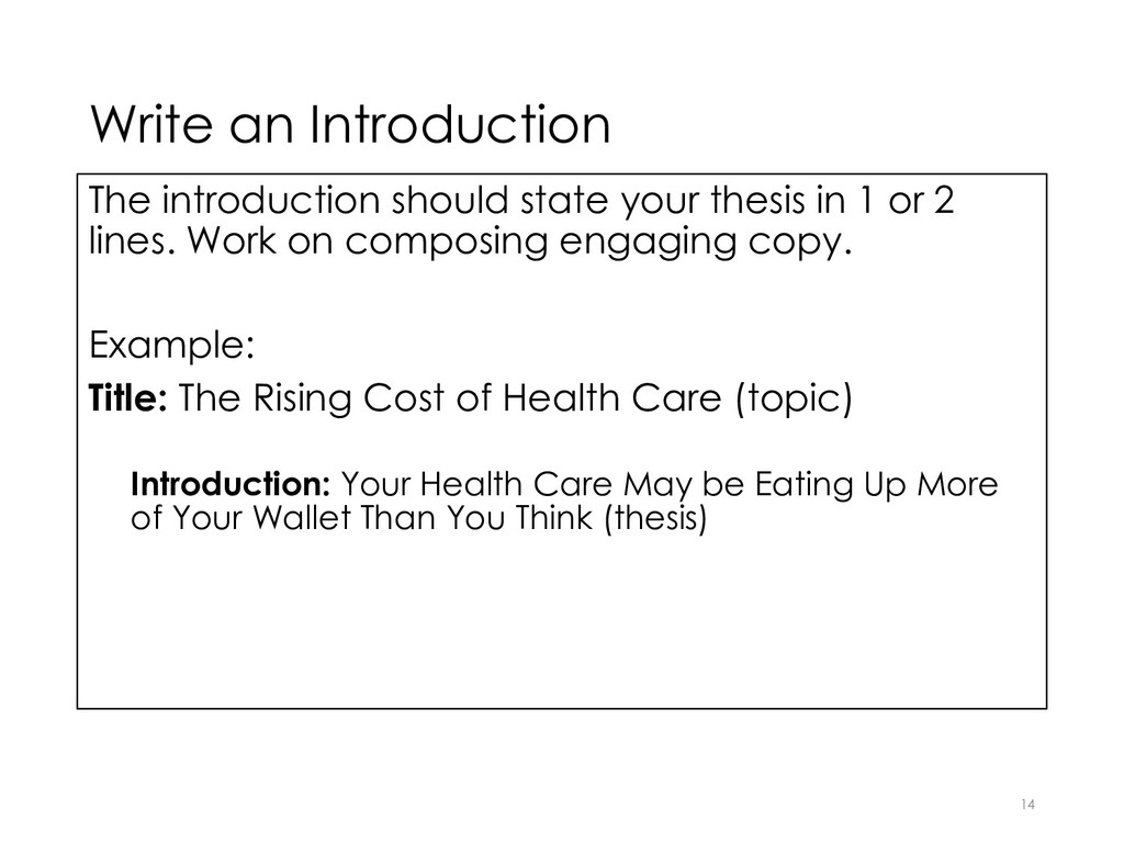 Write an Introduction The introduction should s...