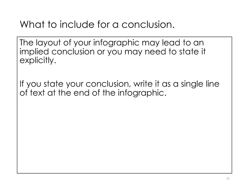 What to include for a conclusion. The layout of...