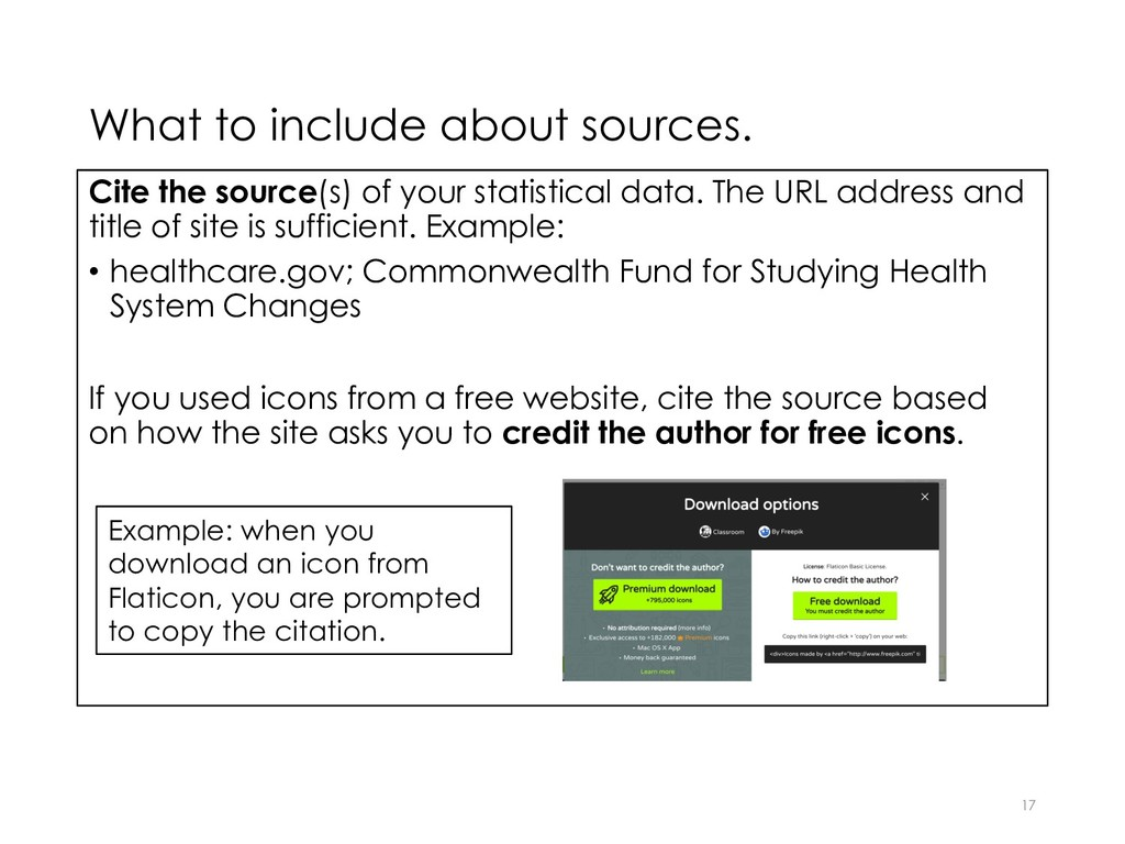 What to include about sources. Cite the source(...