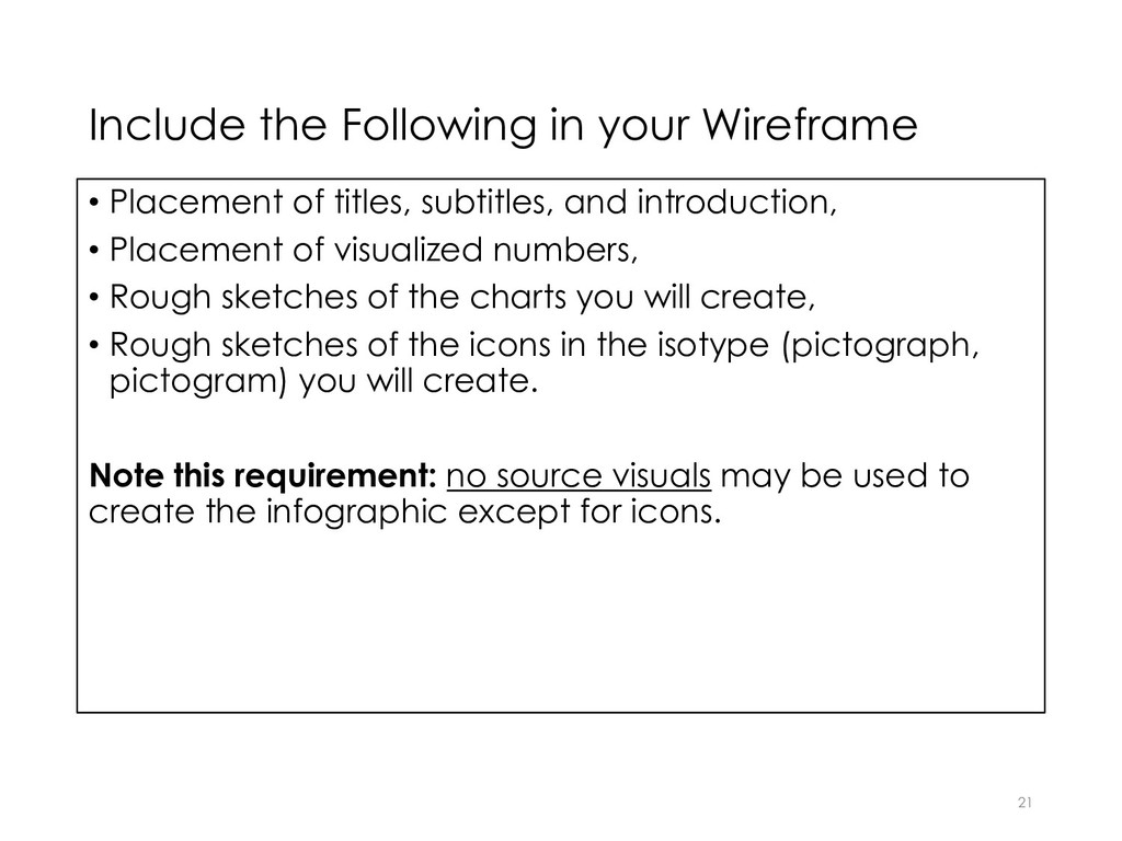 Include the Following in your Wireframe 21 • Pl...