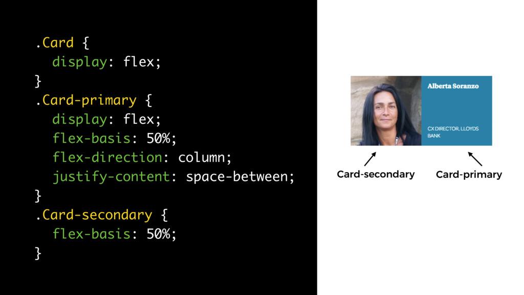.Card { display: flex; } .Card-primary { displa...