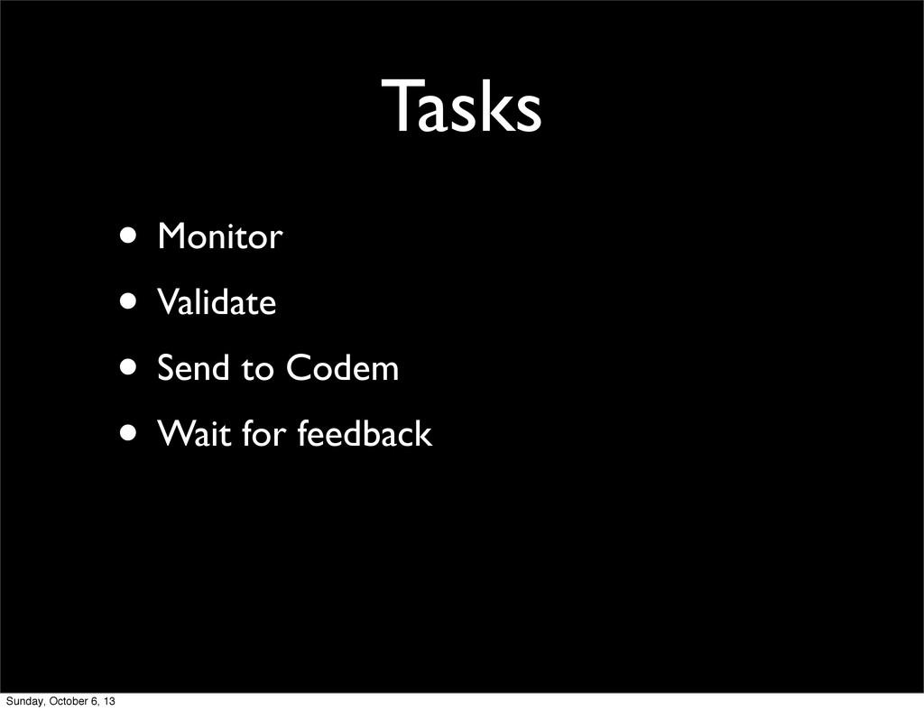Tasks • Monitor • Validate • Send to Codem • Wa...