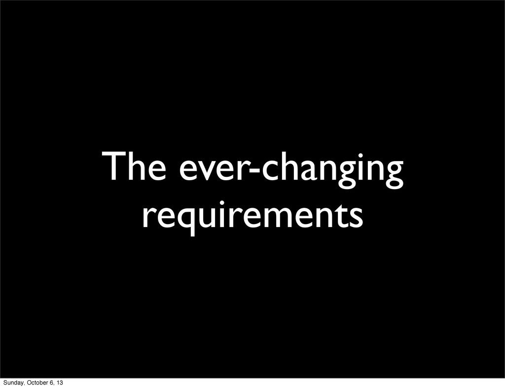 The ever-changing requirements Sunday, October ...