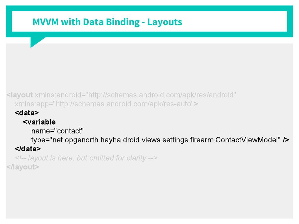 MVVM with Data Binding - Layouts <layout xmlns:...
