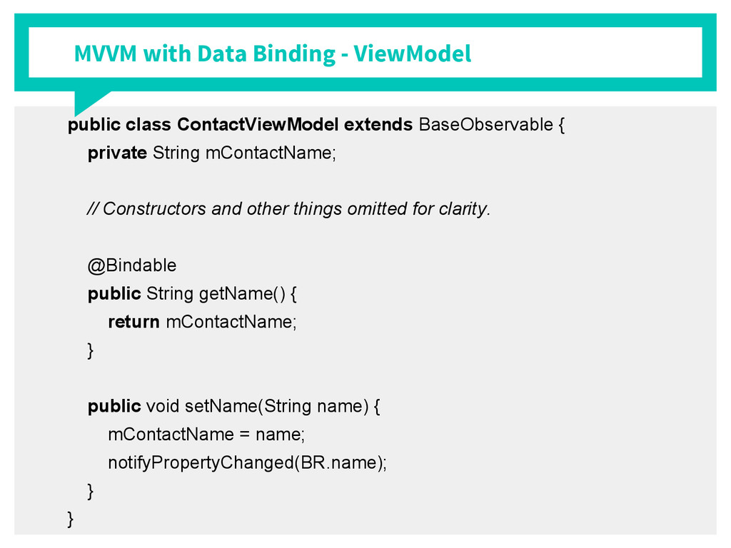 MVVM with Data Binding - ViewModel public class...
