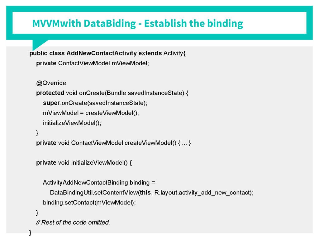 MVVMwith DataBiding - Establish the binding pub...