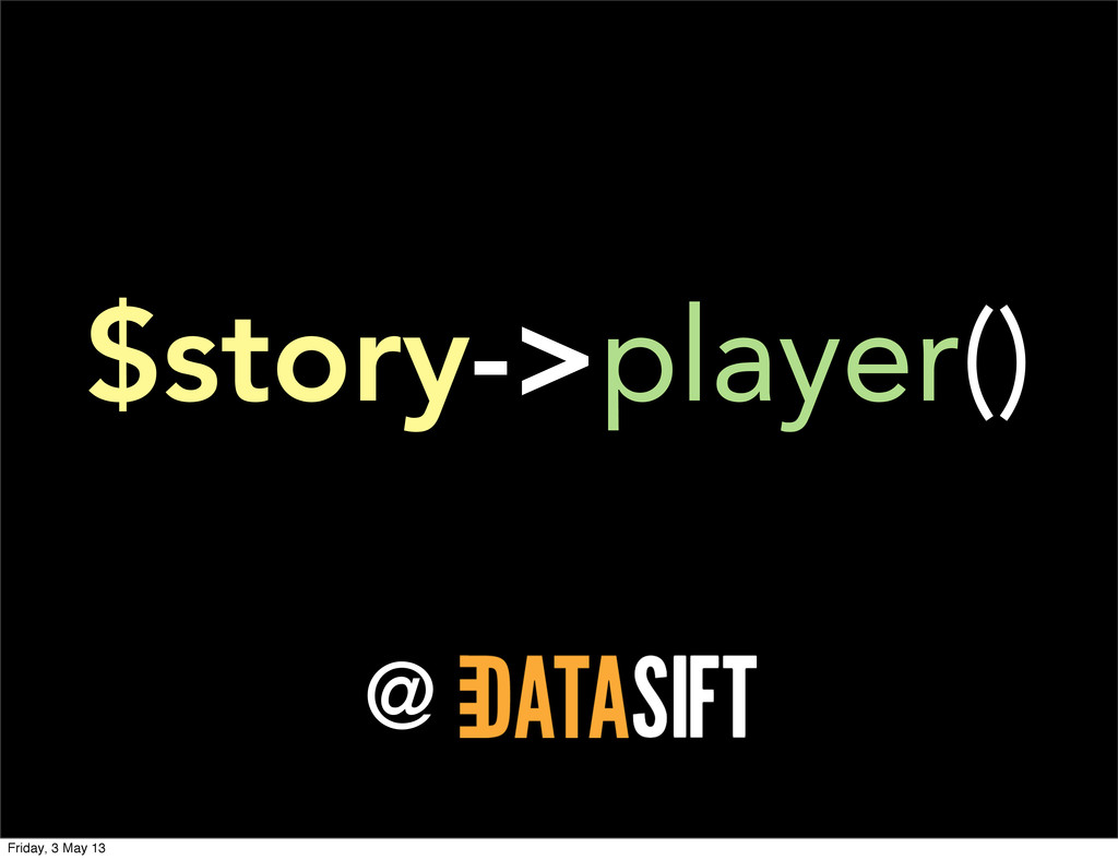 @ $story->player() Friday, 3 May 13