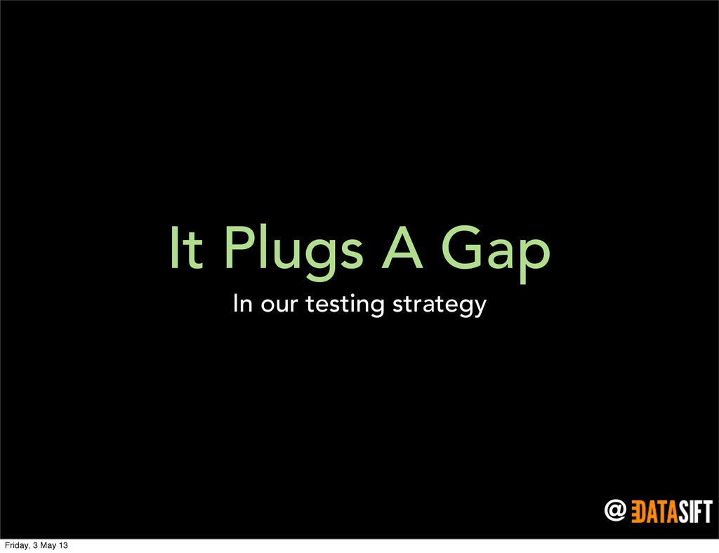 @ It Plugs A Gap In our testing strategy Friday...