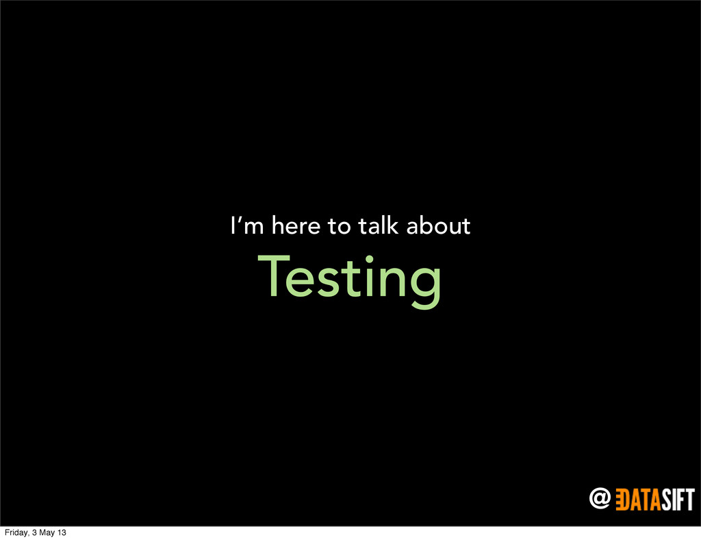 @ Testing I'm here to talk about Friday, 3 May ...