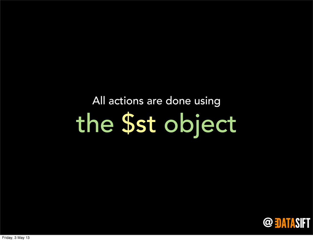 @ the $st object All actions are done using Fri...