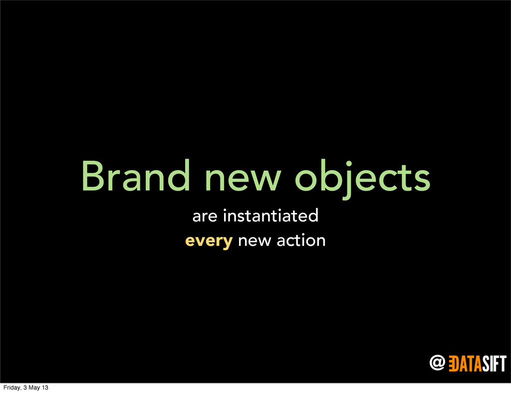 @ Brand new objects are instantiated every new ...