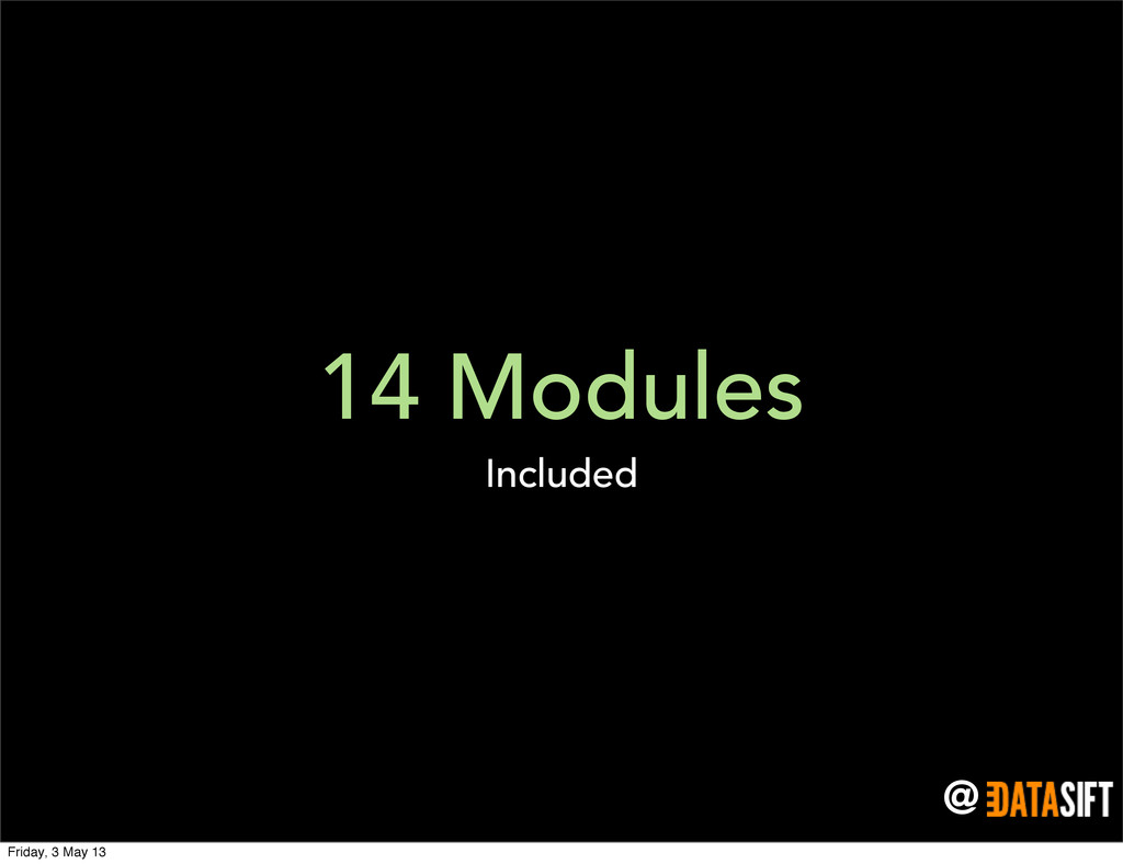 @ 14 Modules Included Friday, 3 May 13