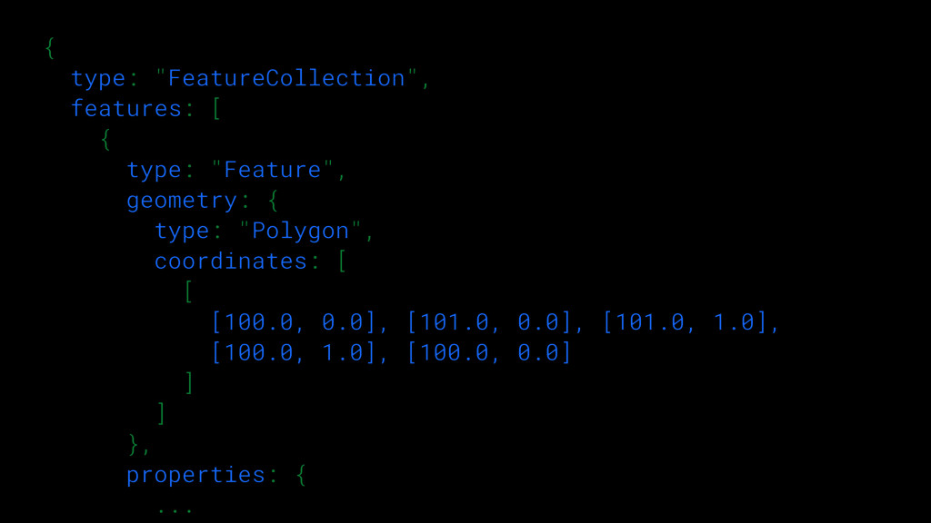 """{  type: """"FeatureCollection"""", features: [ { ..."""