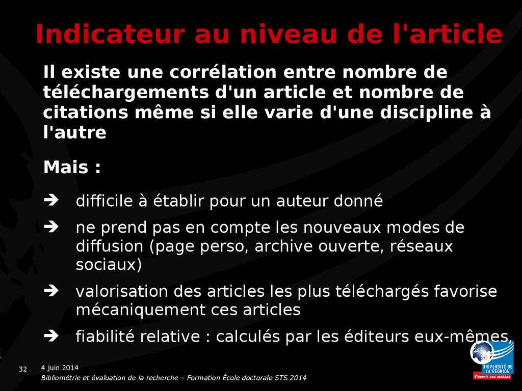 4 juin 2014 Bibliométrie et évaluation de la re...