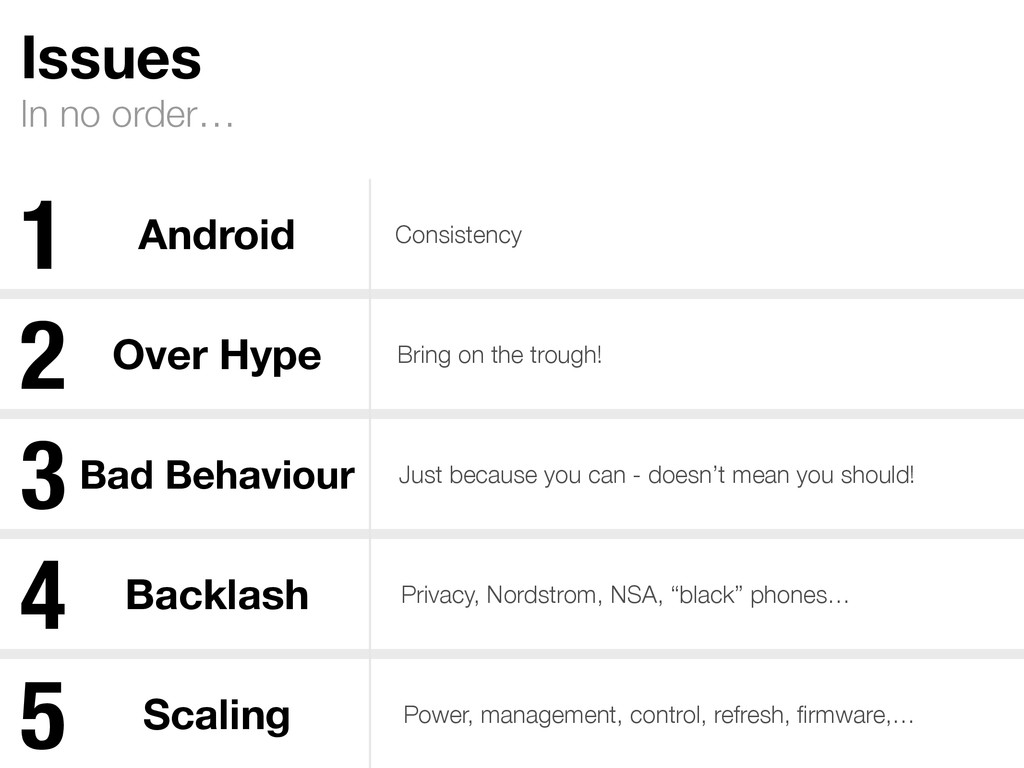 In no order… Issues Android Consistency Over Hy...