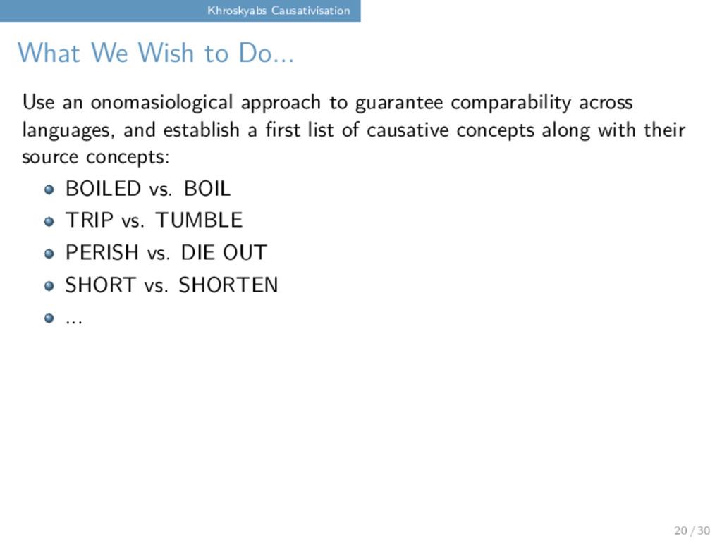Khroskyabs Causativisation What We Wish to Do.....