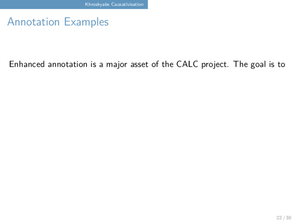 Khroskyabs Causativisation Annotation Examples ...