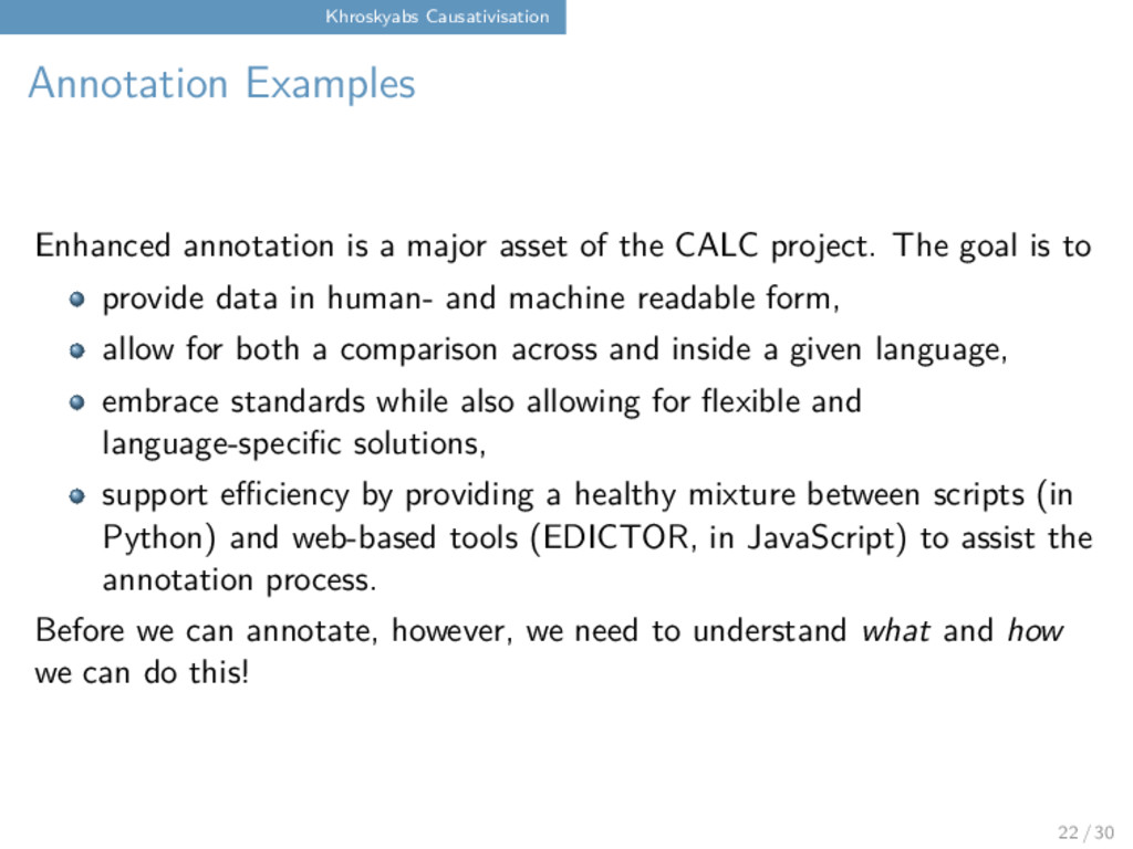 Khroskyabs Causativisation Annotation Examples ...