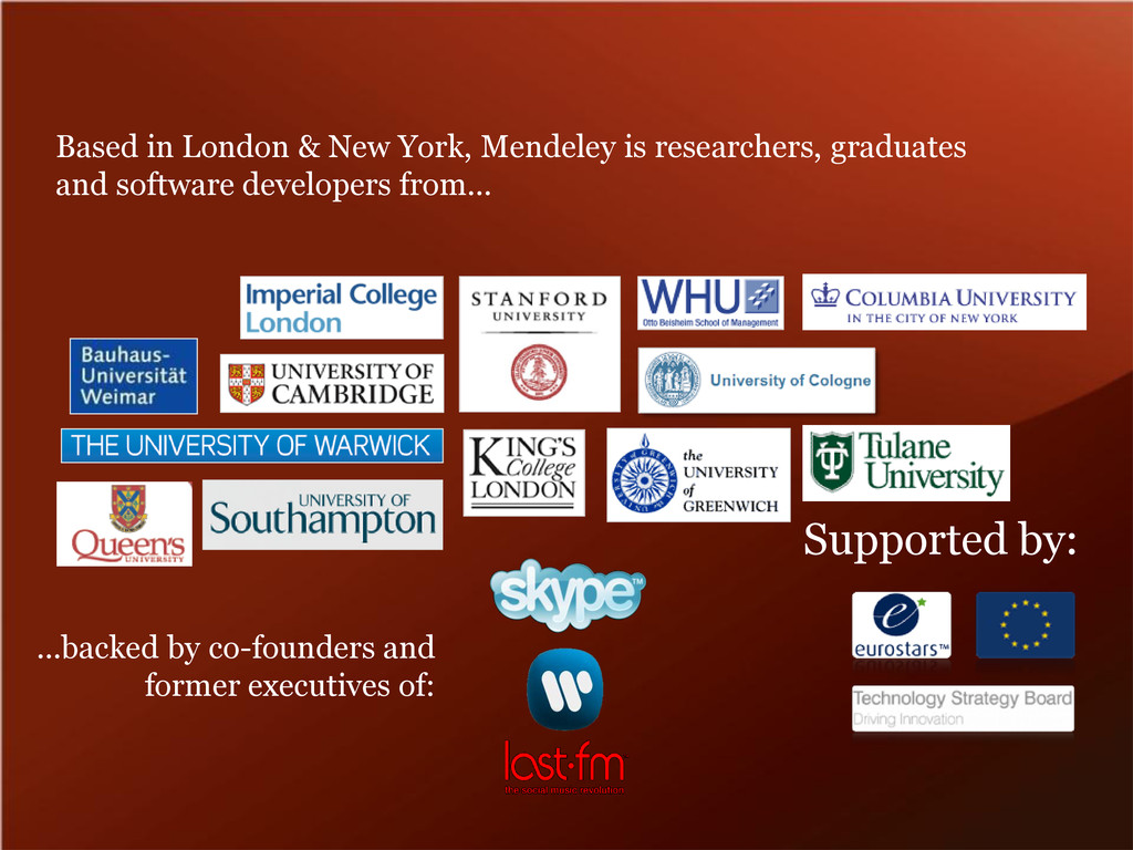 Based in London & New York, Mendeley is researc...