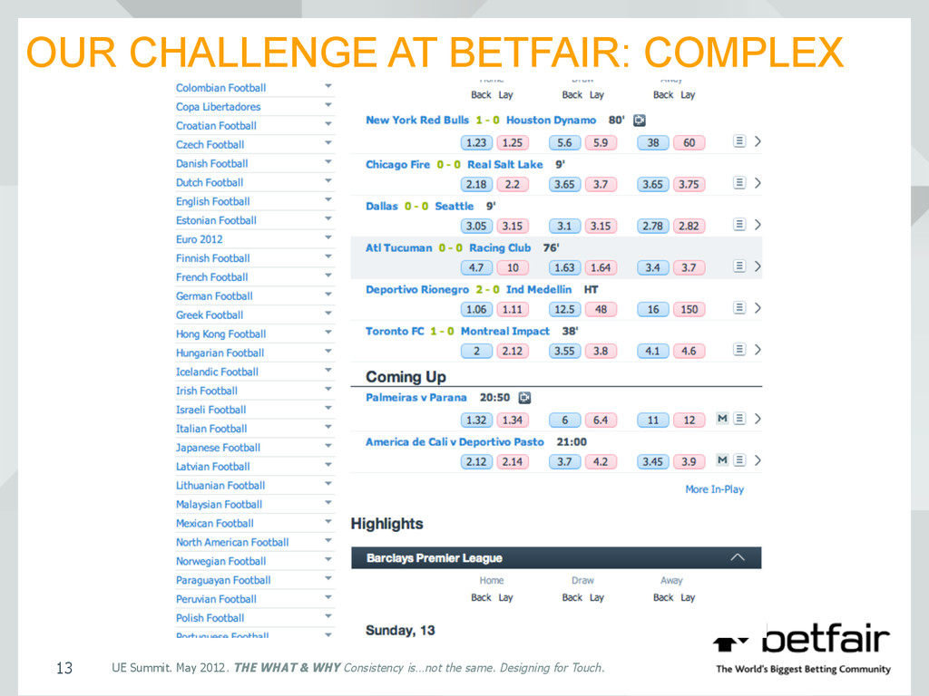 OUR CHALLENGE AT BETFAIR: COMPLEX UE Summit. Ma...