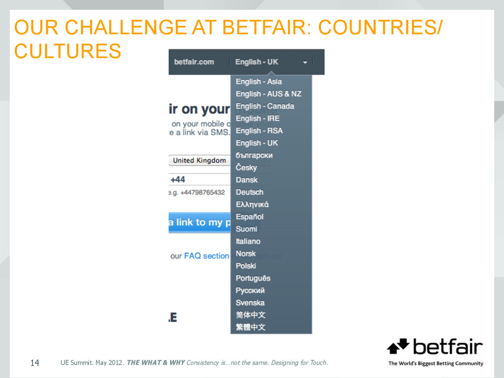 OUR CHALLENGE AT BETFAIR: COUNTRIES/ CULTURES U...