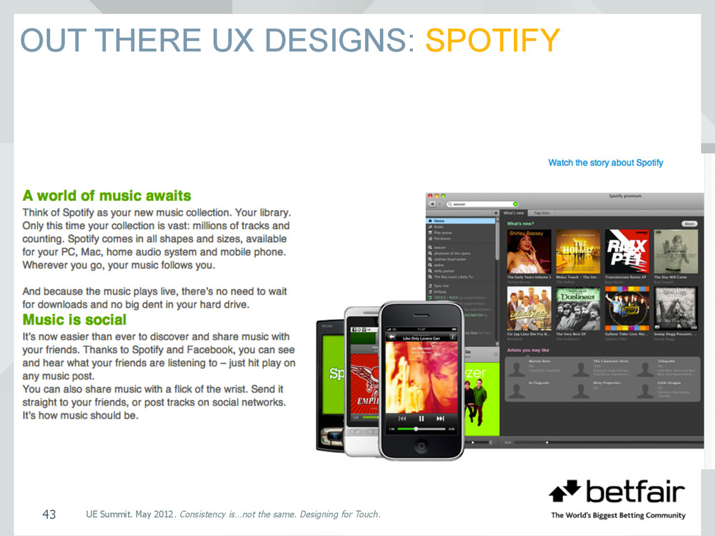 OUT THERE UX DESIGNS: SPOTIFY UE Summit. May 20...