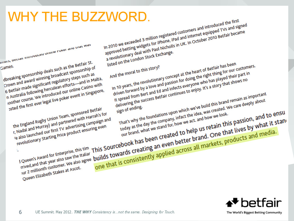 WHY THE BUZZWORD. 6 UE Summit. May 2012. THE WH...