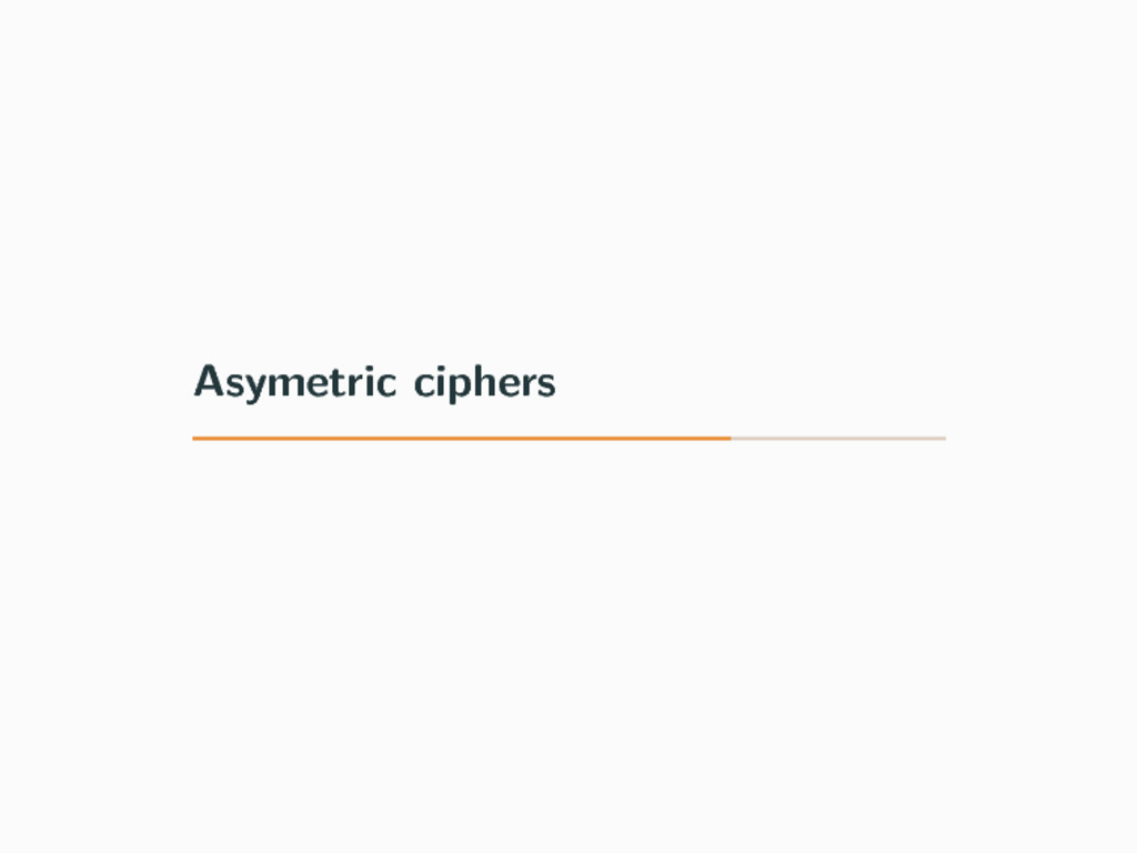 Asymetric ciphers