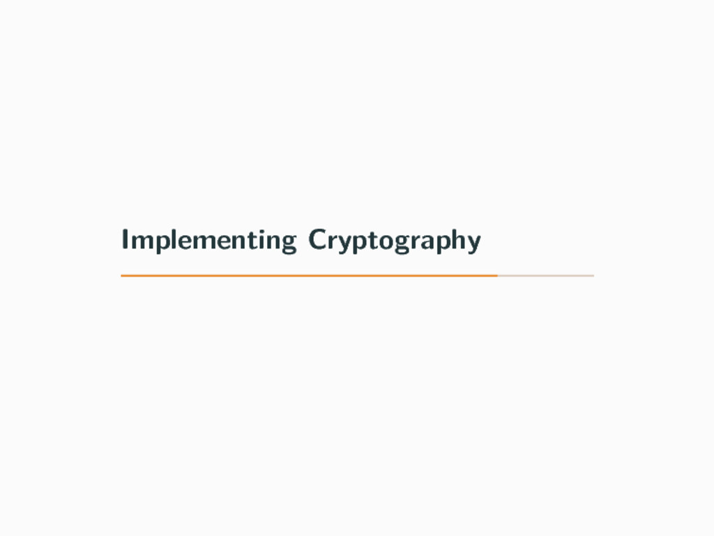Implementing Cryptography