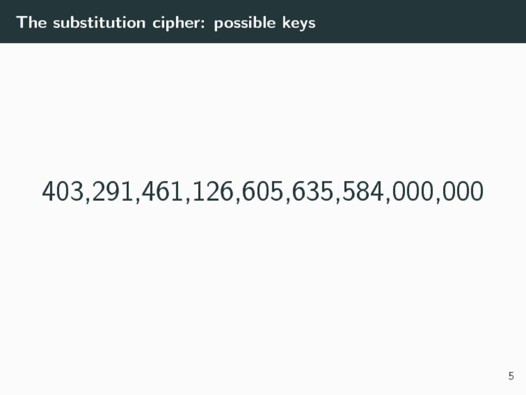 The substitution cipher: possible keys 403,291,...