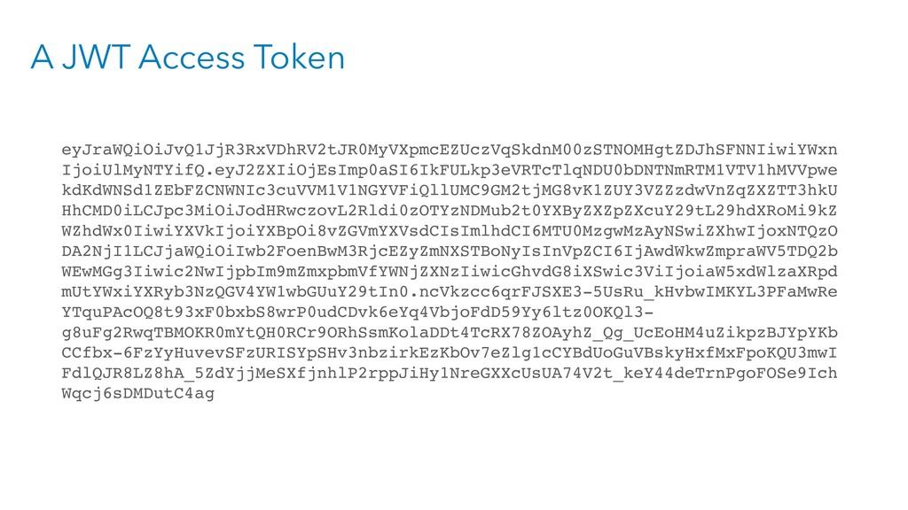 A JWT Access Token eyJraWQiOiJvQ1JjR3RxVDhRV2tJ...