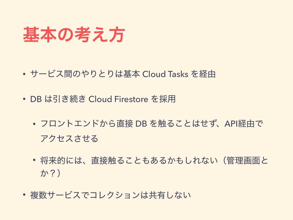 جຊͷߟ͑ํ • αʔϏεؒͷΓͱΓجຊ Cloud Tasks Λܦ༝ • DB Ҿ͖...
