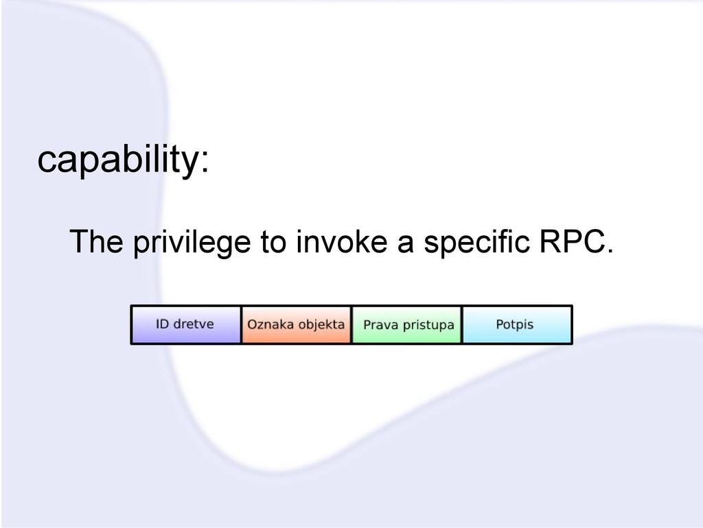 capability: The privilege to invoke a specific ...