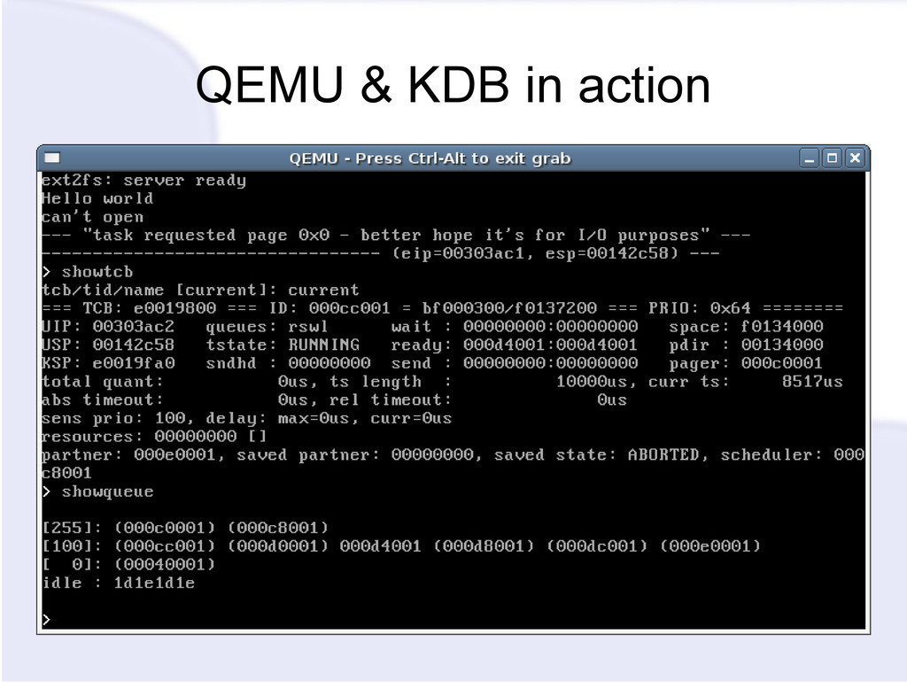 QEMU & KDB in action