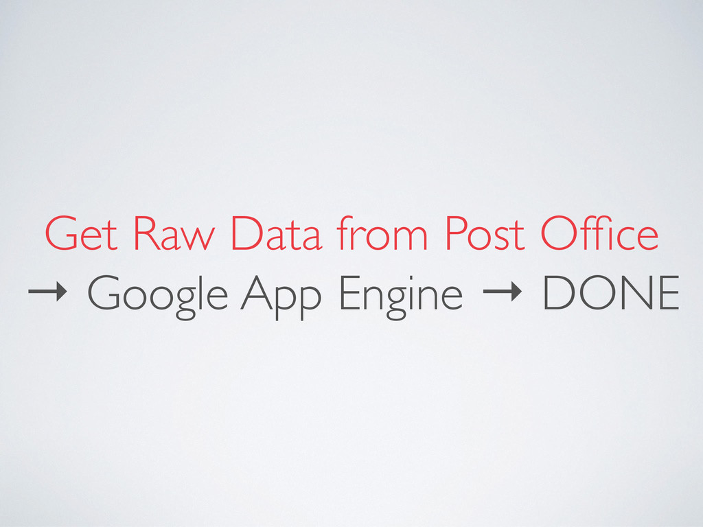 Get Raw Data from Post Office → Google App Engin...