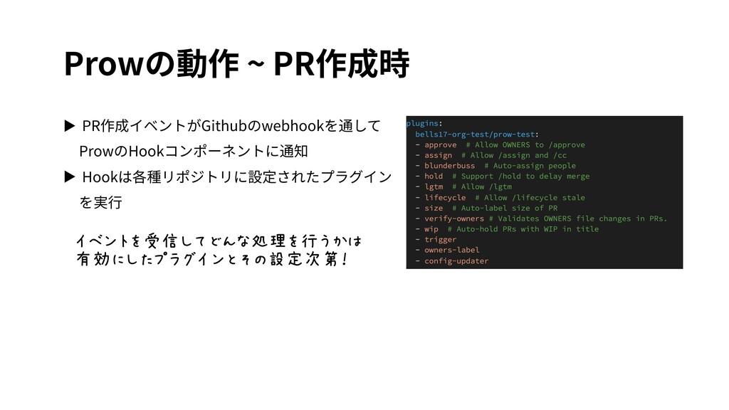 Prowの動作 ~ PR作成時 ▶ PR作成イベントがGithubのwebhookを通して P...