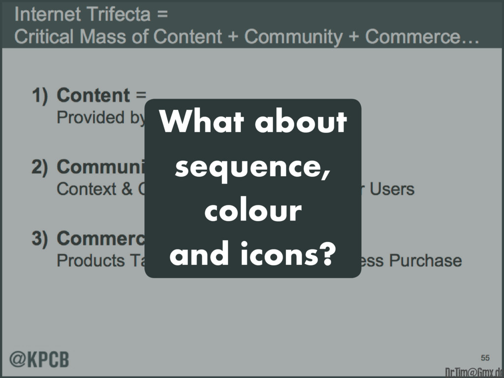 What about sequence, colour and icons? e Dr.Tim...