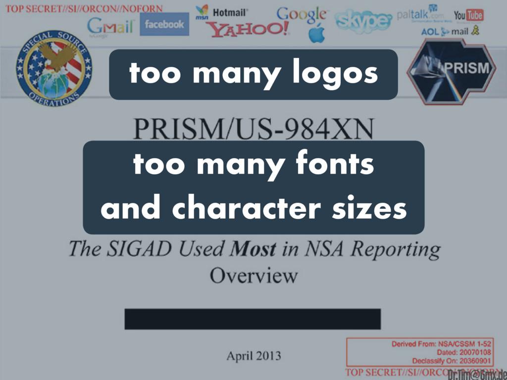 too many logos too many fonts and character siz...